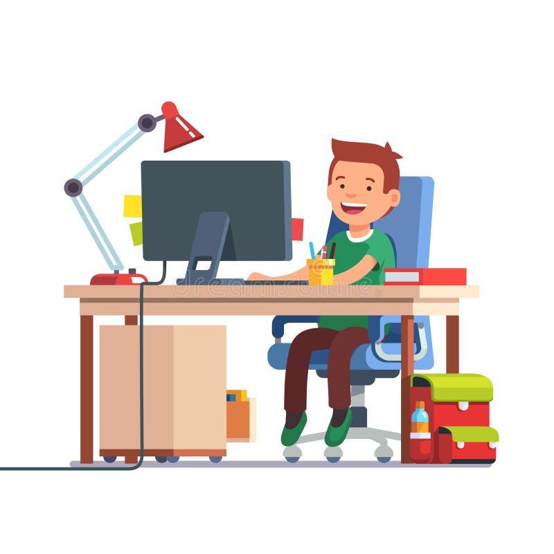 Мальчик ребенк школы изучая перед компьютером бесплатная иллюстрация