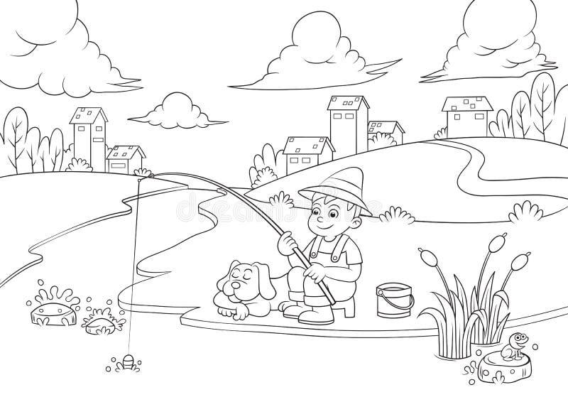 Мальчик рыболовства для книжка-раскраски. иллюстрация вектора