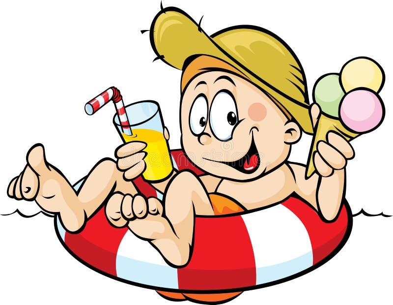 Мальчик сидит на lifebuoy, ел мороженое иллюстрация вектора