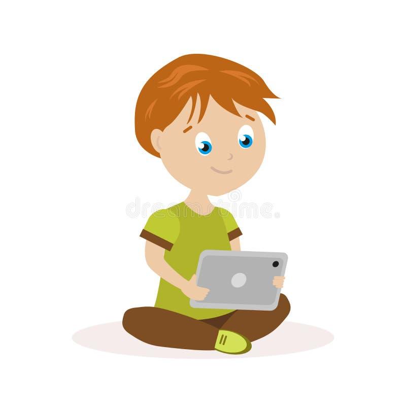Мальчик сидя на поле с таблеткой в руках Ребенок читает или играет на электронном устройстве плоский характер иллюстрация вектора
