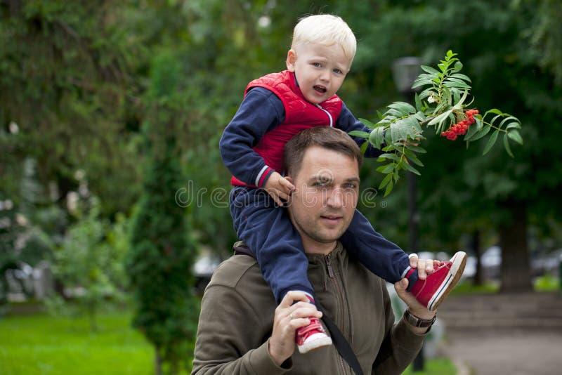 Мальчик сидя на плечах молодого отца стоковая фотография rf