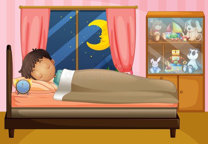Мальчик спать в его спальне иллюстрация вектора