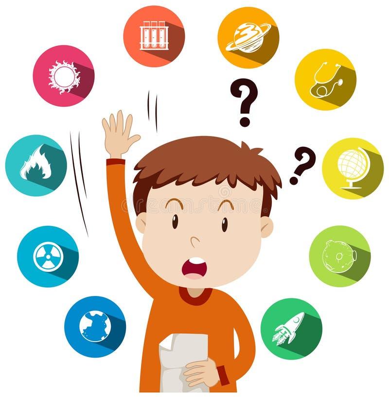 Мальчик спрашивая вопросы о работе школы иллюстрация вектора