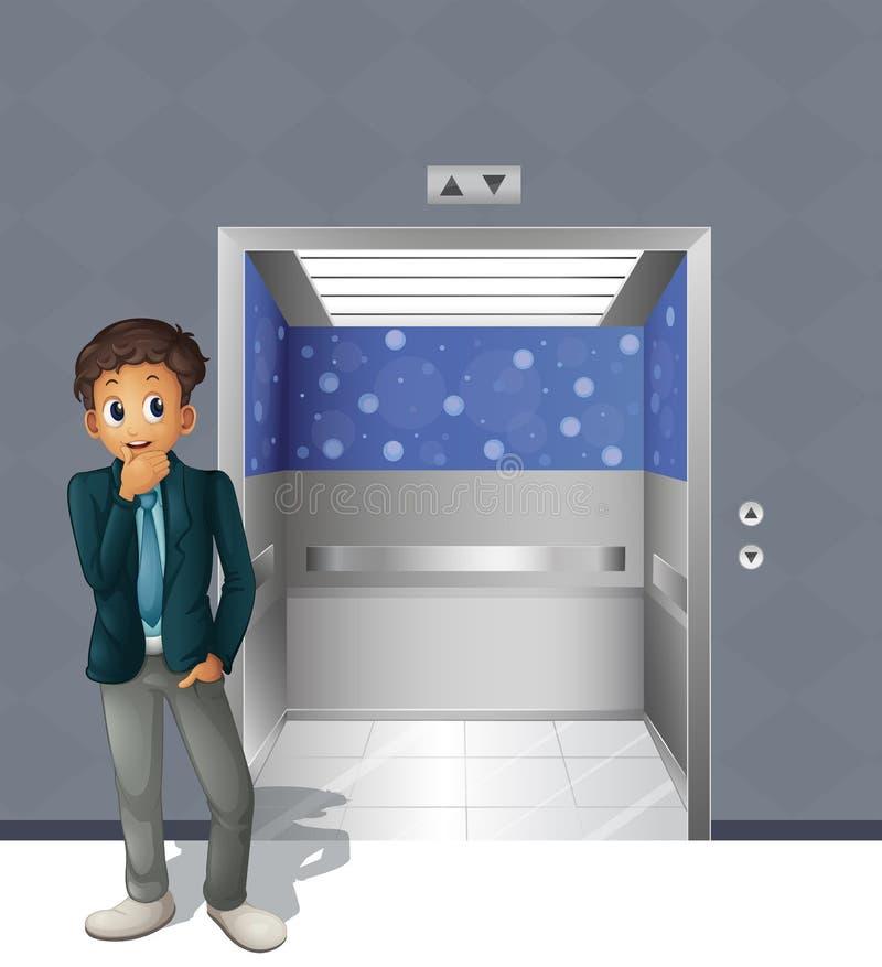 Мальчик стоящий вне лифта иллюстрация штока