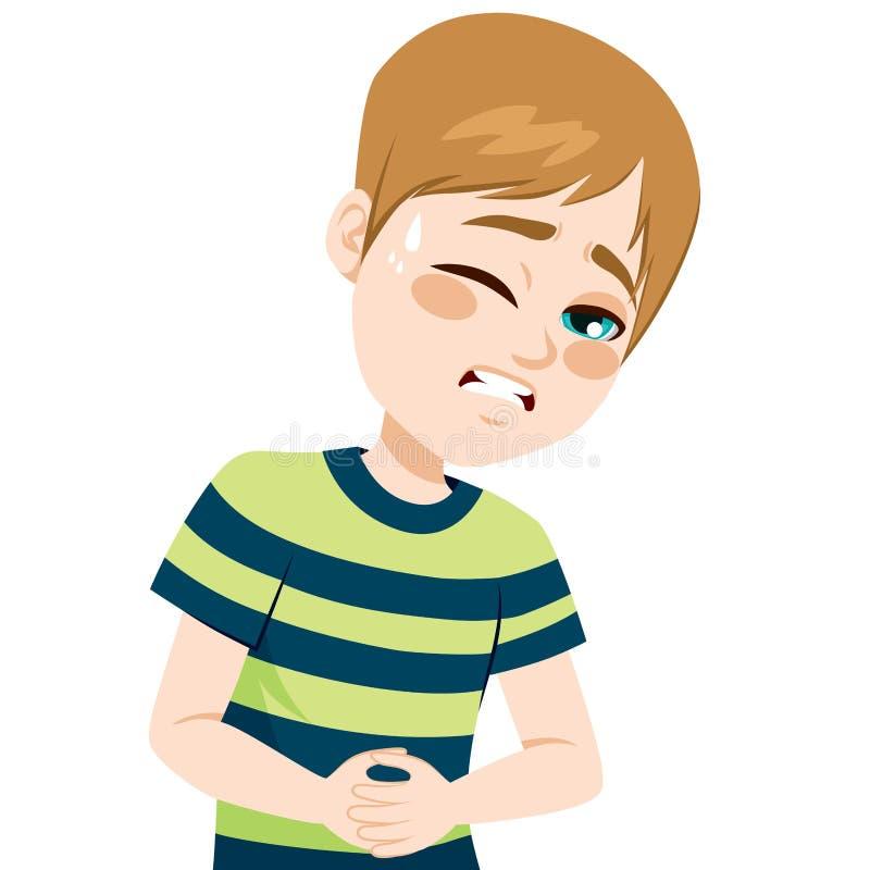 Мальчик страдая Stomachache иллюстрация штока