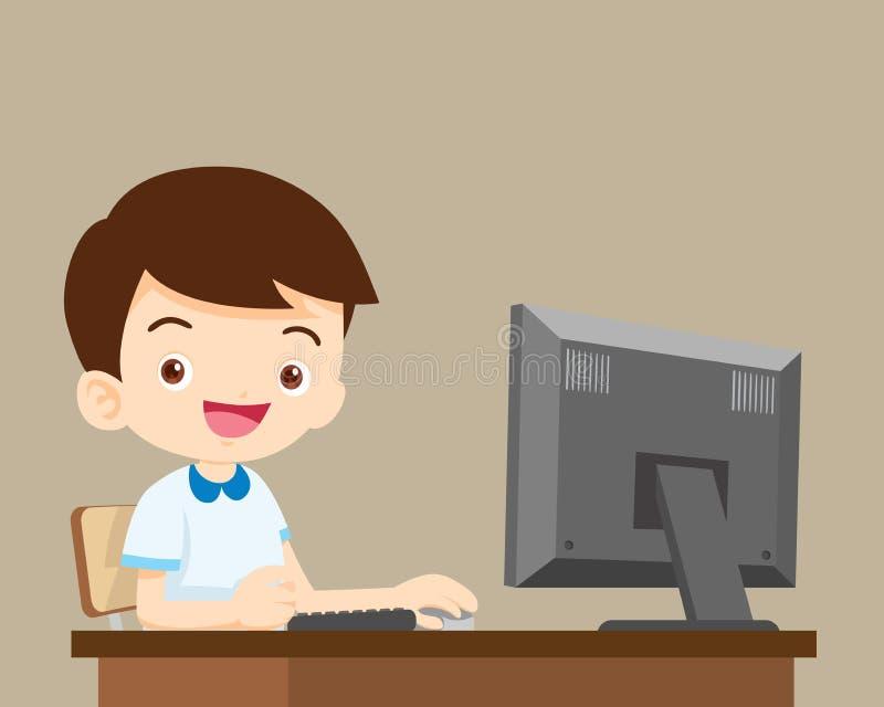 Мальчик студента работая с компьютером иллюстрация вектора