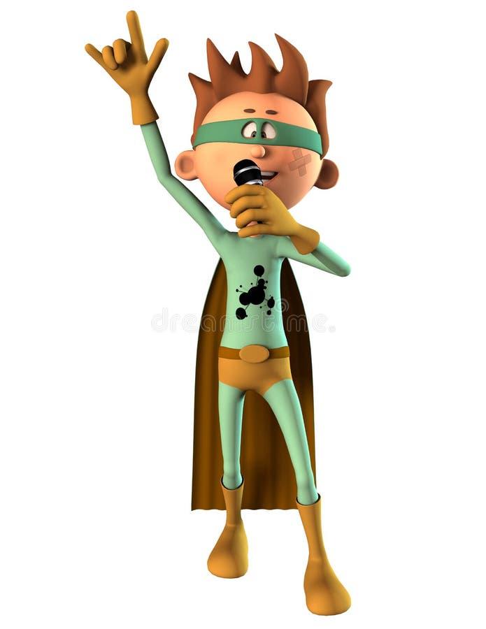 Мальчик супергероя с микрофоном бесплатная иллюстрация