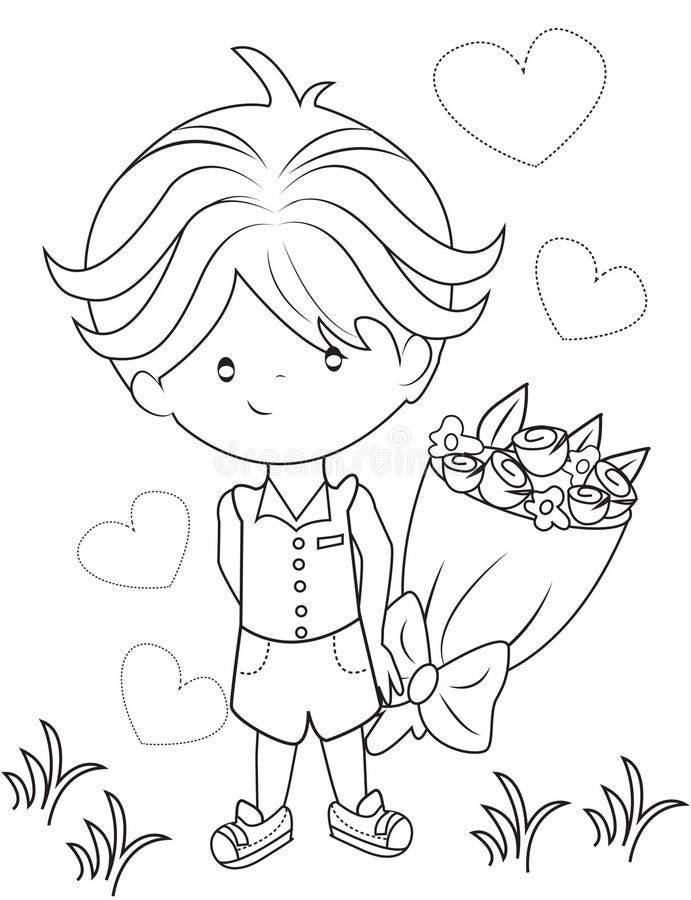 Мальчик с букетом цветков крася страницу иллюстрация штока