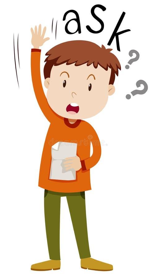 Мальчик с бумагой спрашивая вопросы иллюстрация вектора