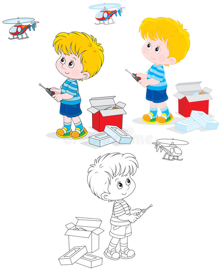 Мальчик с вертолетом иллюстрация штока