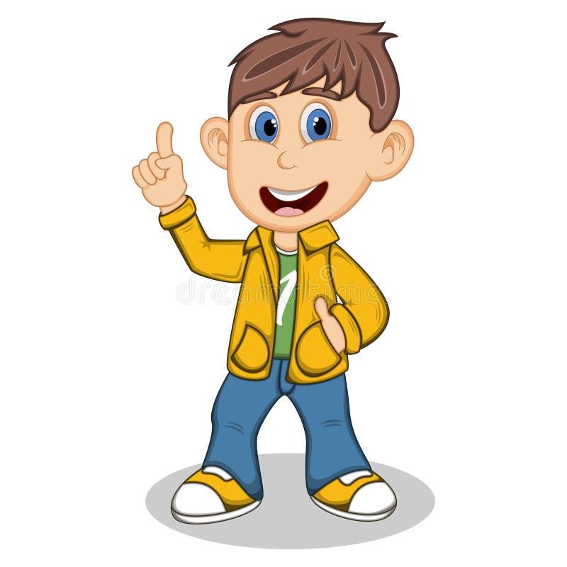 Мальчик с желтой курткой и голубые брюки указывают его шарж пальца бесплатная иллюстрация