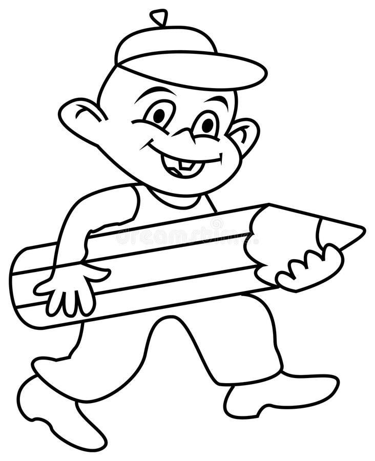 Мальчик с карандашем иллюстрация штока