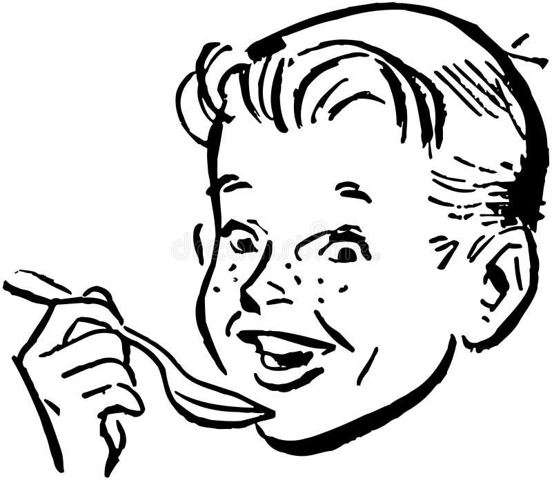 Мальчик с ложкой иллюстрация вектора