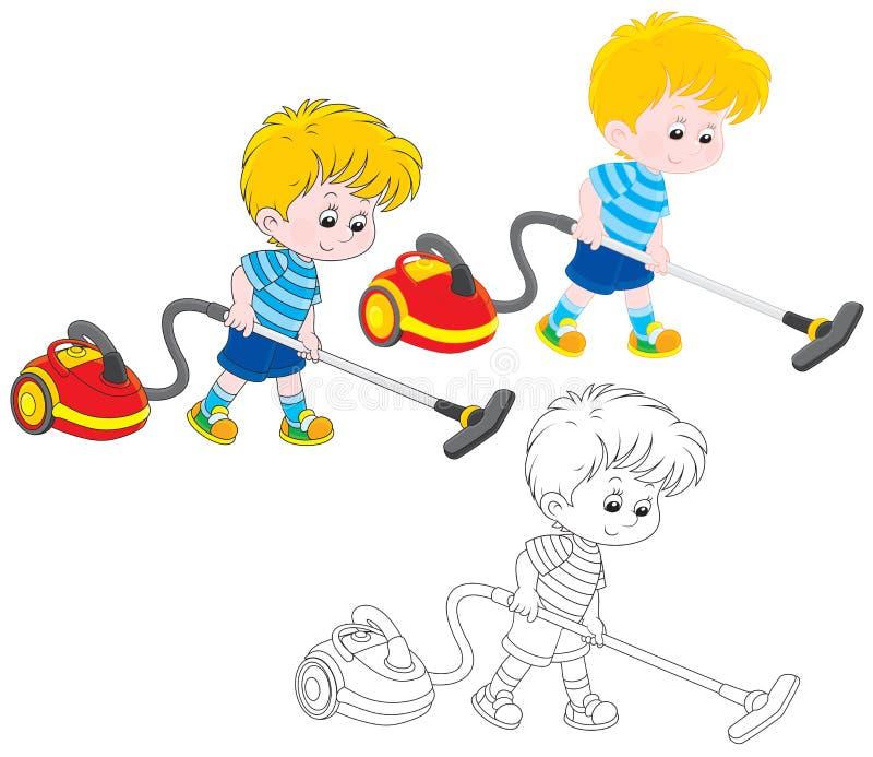 Мальчик с пылесосом иллюстрация штока