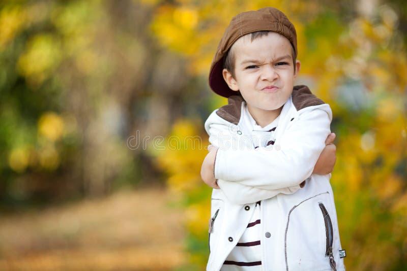 Мальчик с смешной стороной в древесинах стоковое изображение