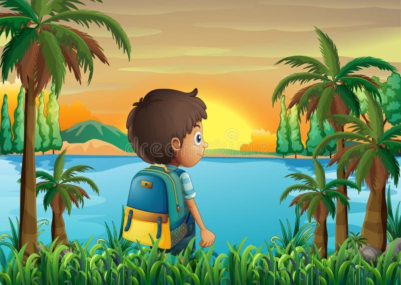 Мальчик с сумкой наблюдая заход солнца бесплатная иллюстрация