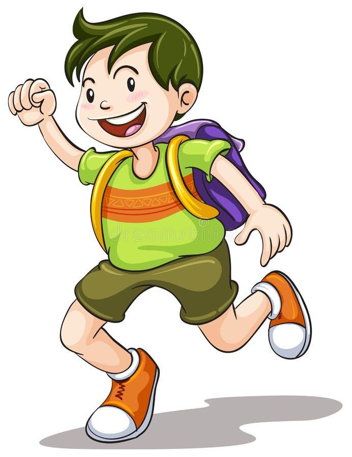 Мальчик с сумкой школы иллюстрация штока