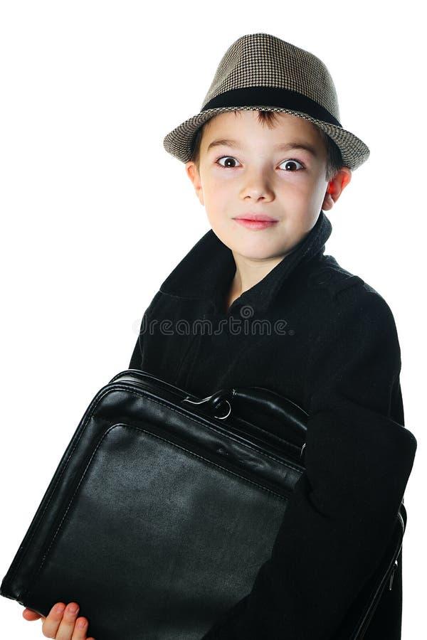 Мальчик с случаем стоковое фото rf