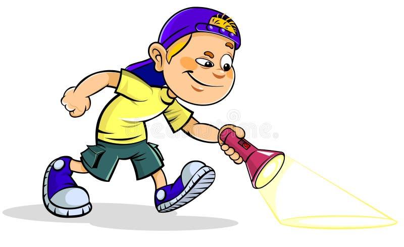 Мальчик с электрофонарем иллюстрация штока