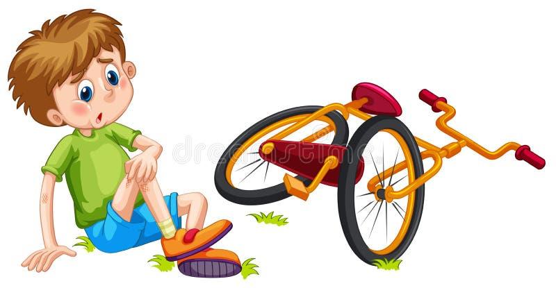 Мальчик упаденный с велосипеда иллюстрация штока