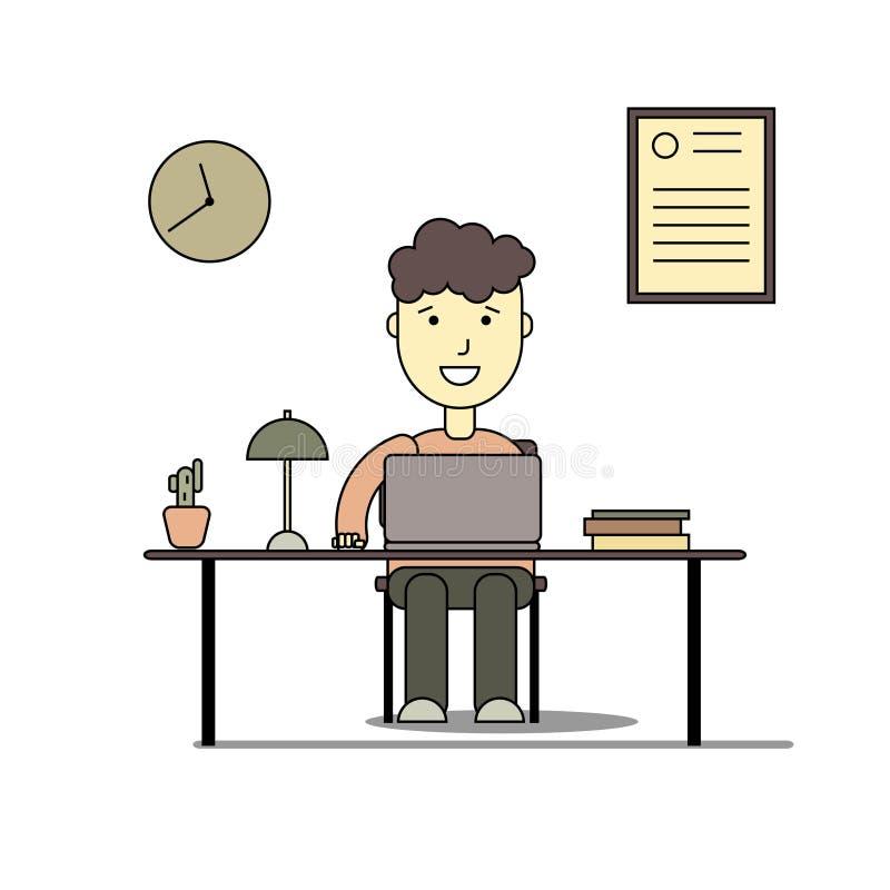Мальчик усмехаясь и делая домашнюю работу с компьтер-книжкой бесплатная иллюстрация