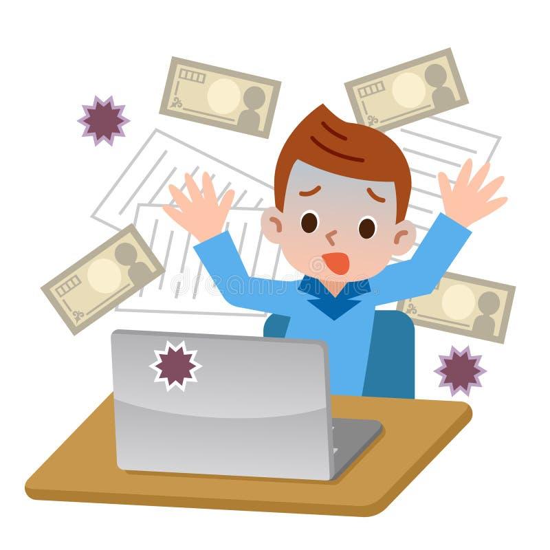 Мальчик удивленный к компьютерным вирусам бесплатная иллюстрация