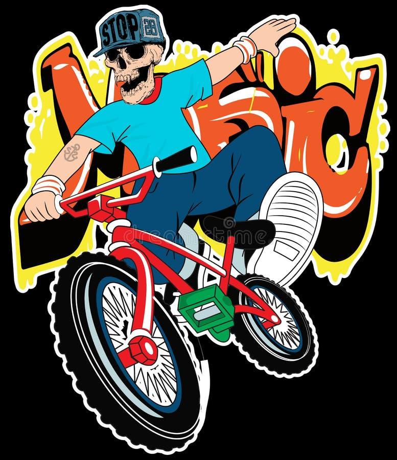 Мальчик черепа на векторе велосипеда на белой предпосылке бесплатная иллюстрация