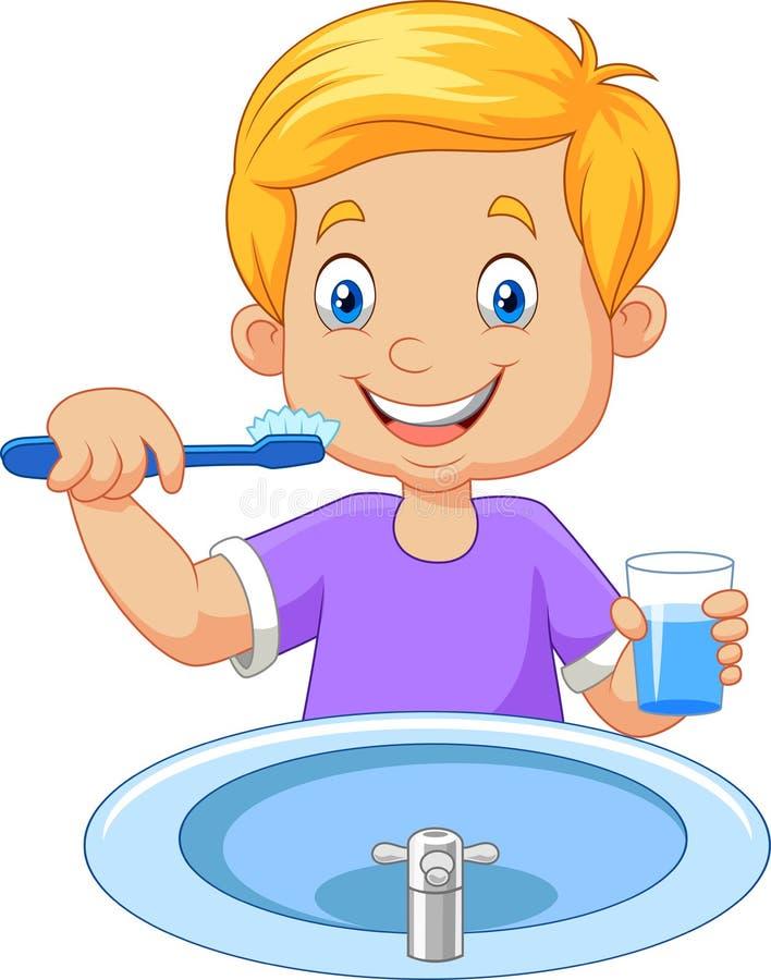 мальчик чистя милые маленькие зубы щеткой иллюстрация штока