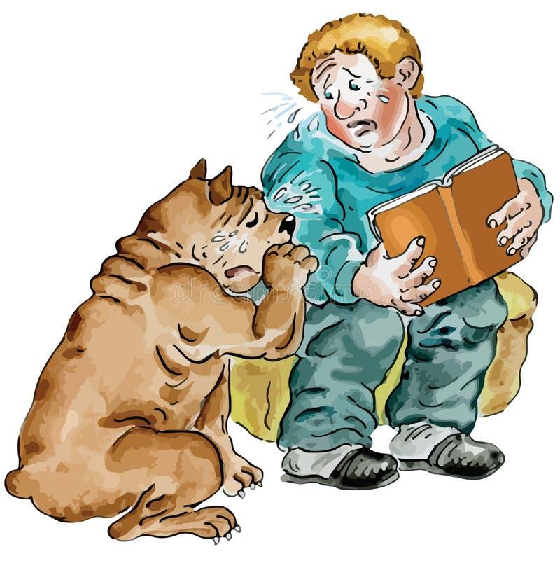 Мальчик читая унылую книгу вместе с его собакой иллюстрация вектора