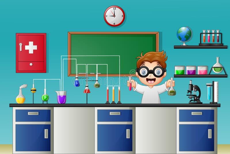 Мальчик шаржа делая химический эксперимент в лаборатории иллюстрация вектора