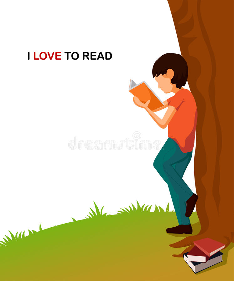 Мальчик шаржа молодой читая книгу бесплатная иллюстрация