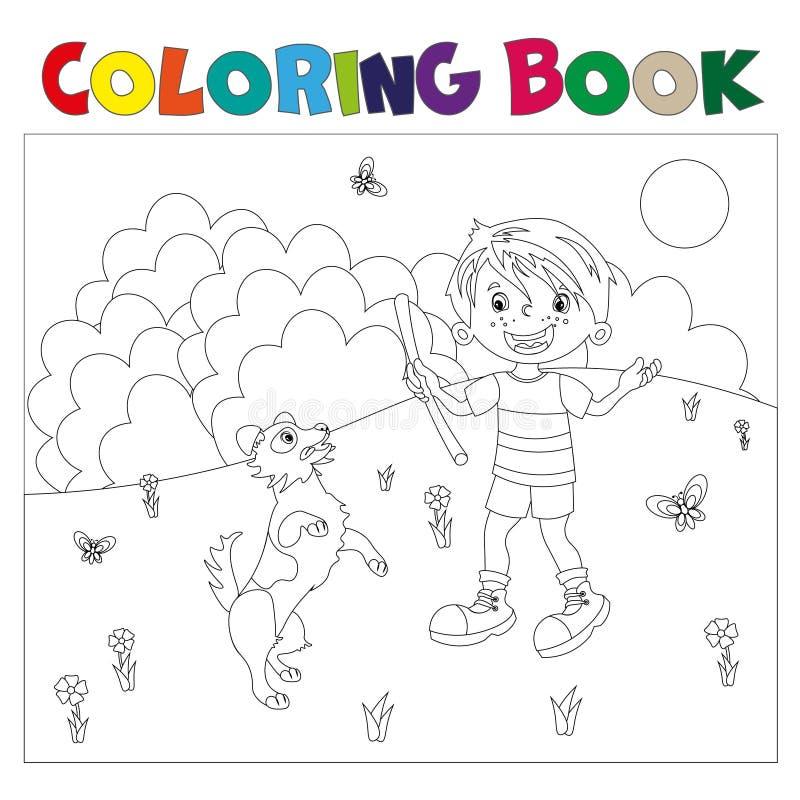 Мальчик шаржа плана страницы расцветки с собакой иллюстрация вектора