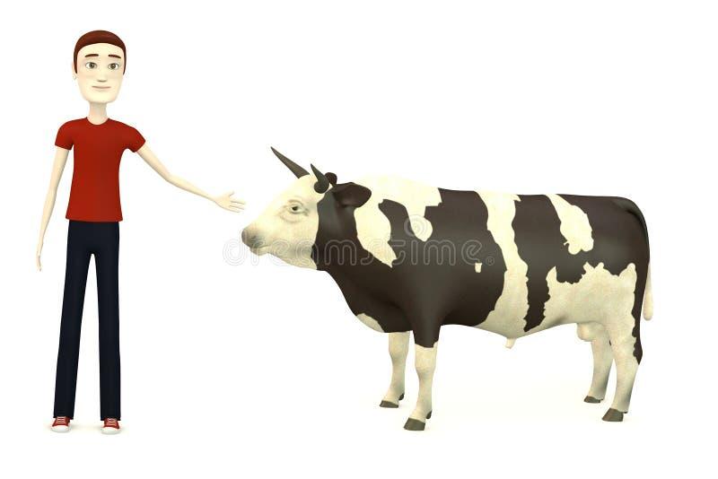 Мальчик шаржа с быком бесплатная иллюстрация