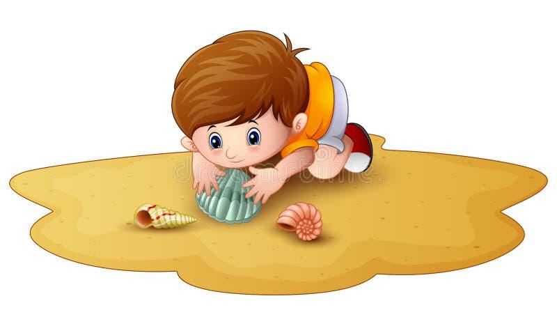 Мальчик шаржа с seashells в песке иллюстрация штока