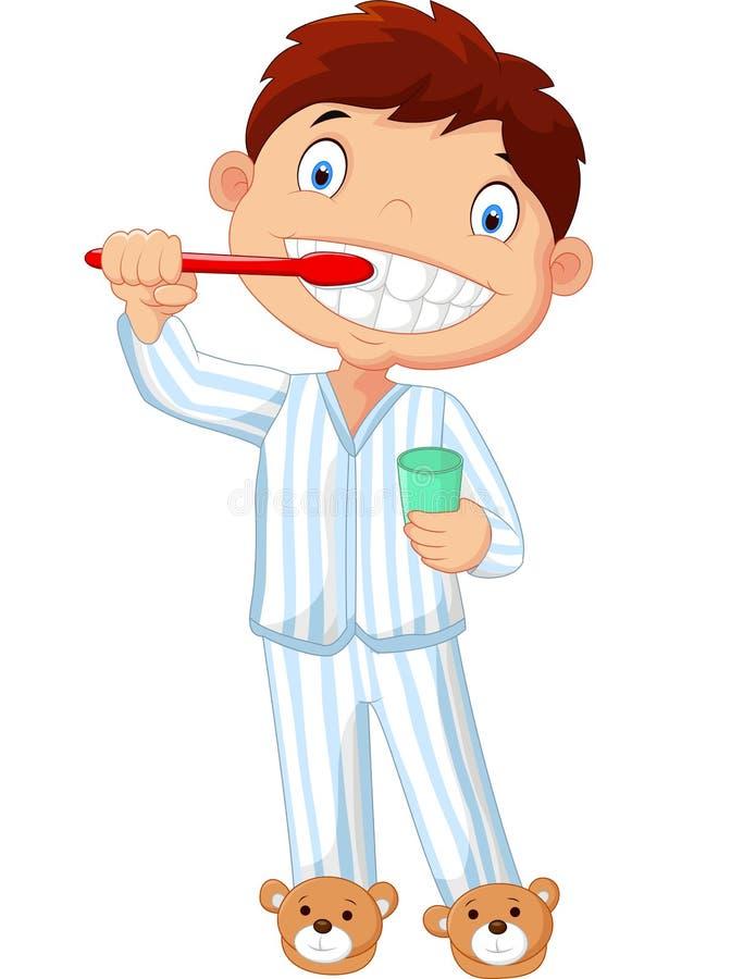 Мальчик шаржа чистя его зубы щеткой иллюстрация вектора