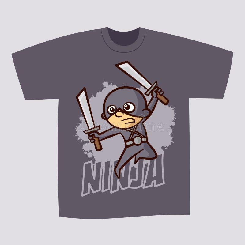 Мальчик Ninja супергероя дизайна печати футболки иллюстрация штока