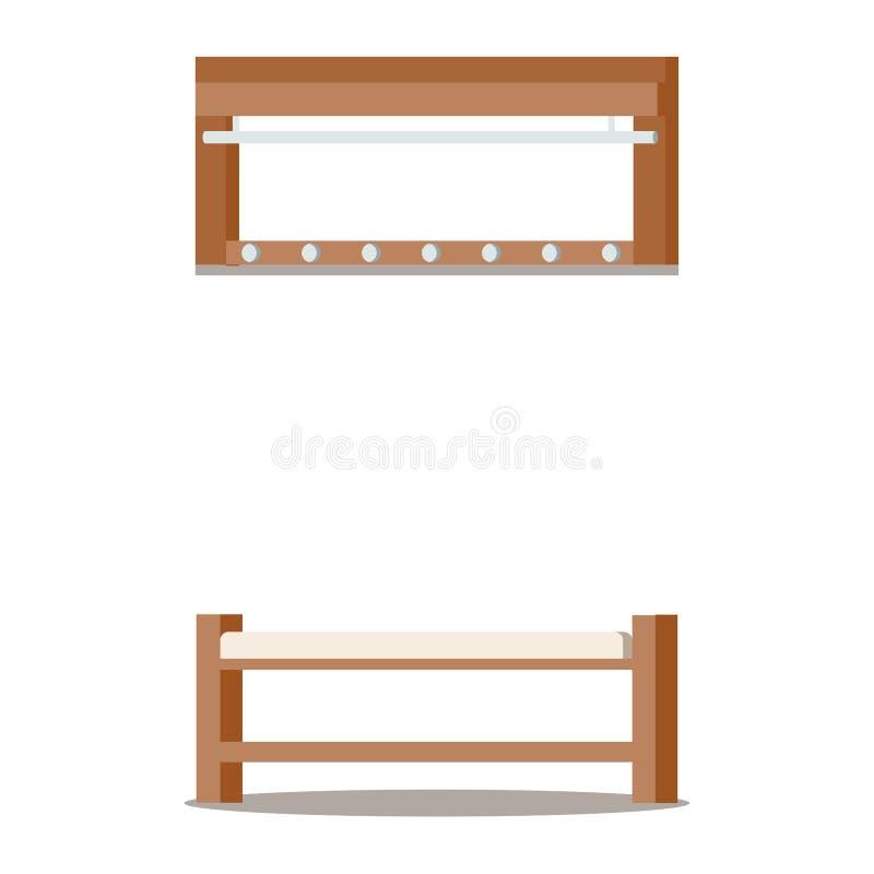 Мебель для уютного домашнего интерьера вестибюля: деревянная вешалка одежд, мягкий стенд ботинка бесплатная иллюстрация