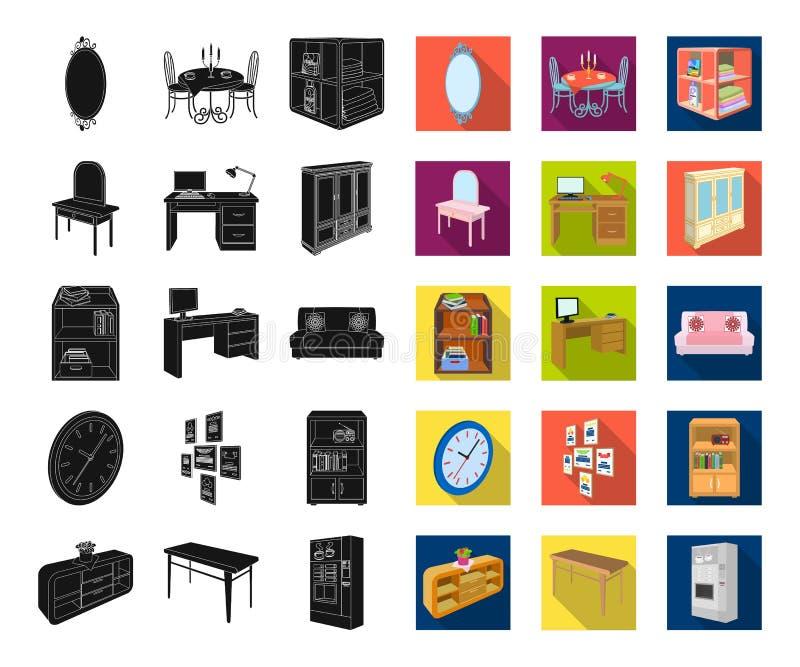 Мебель и внутренняя чернота, плоские значки в установленном собрании для дизайна Хозяйственные товары vector равновеликая сеть за бесплатная иллюстрация