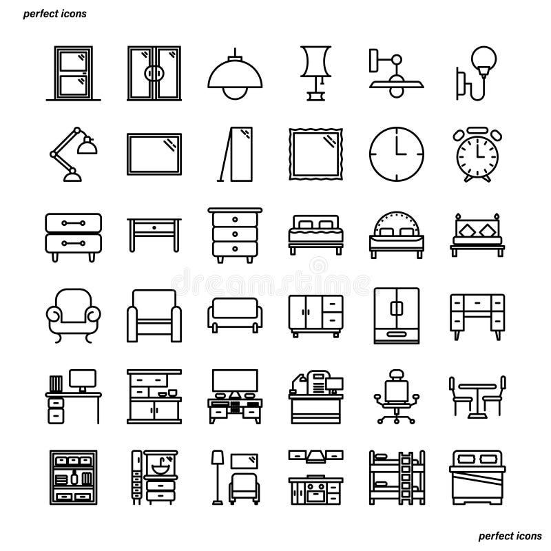 Мебель и домашнее украшение конспектируют пиксел значков совершенный стоковые фотографии rf