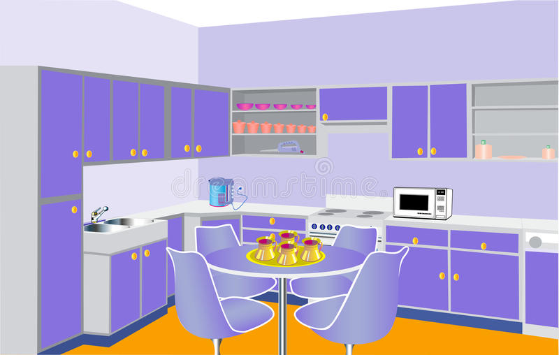 Мебель на кухне самомоднейшим сирени установленное бесплатная иллюстрация