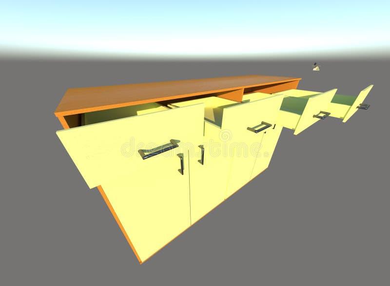 Мебель 3d Sideboard представляет иллюстрация вектора