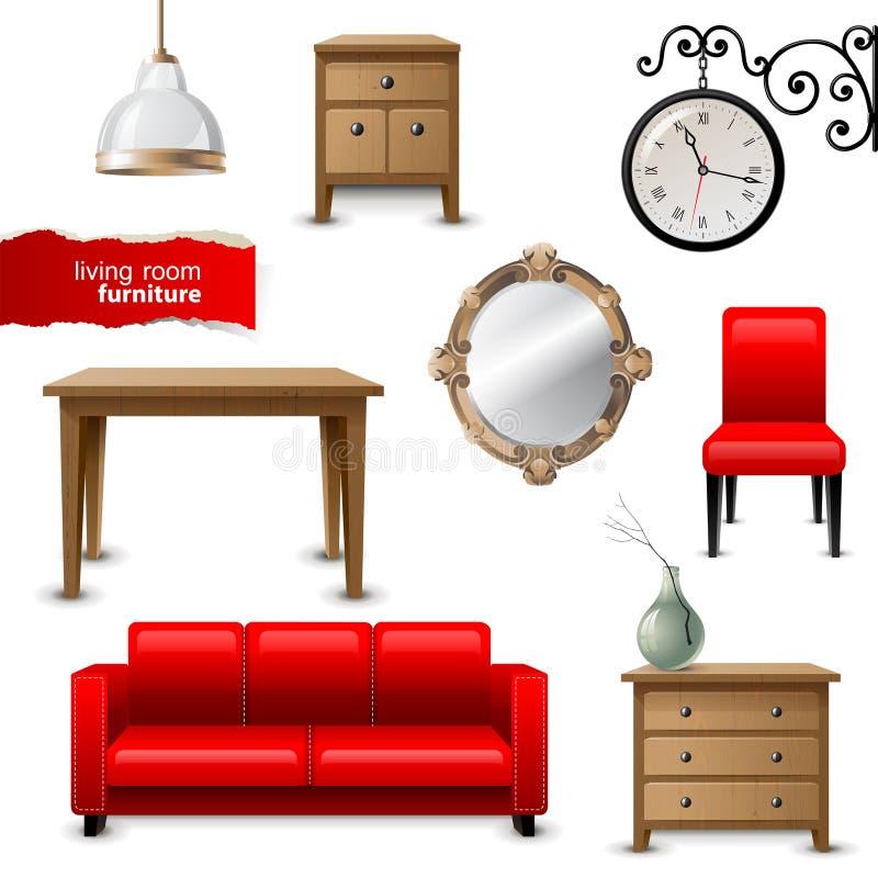 Мебель живущей комнаты иллюстрация штока