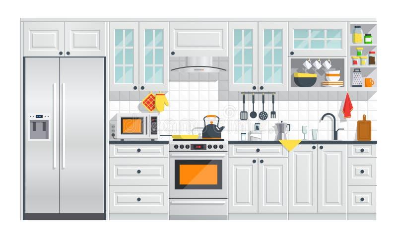 Мебель кухни белая с иллюстрацией приборов иллюстрация штока