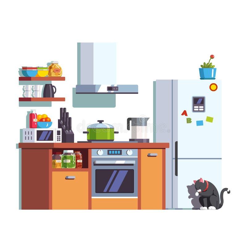 Мебель кухни внутренняя с утварями и едой бесплатная иллюстрация