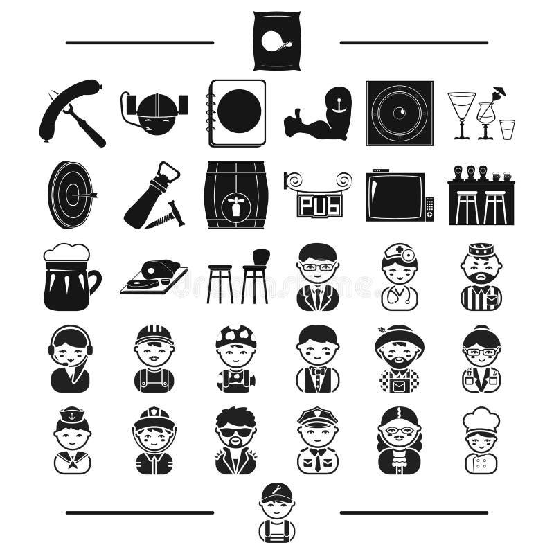 Мебель, остатки, профессии и другой значок сети в черном стиле водопроводчик, инструменты, приписывает значки в собрании комплект иллюстрация штока