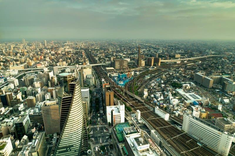 Мегалополис Нагои взгляда панорамы горизонта от квадрата Midland стоковое фото