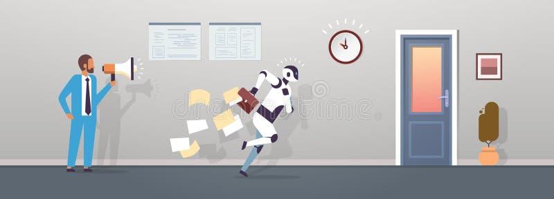 Мегафона владением босса ход робота человеческого современный с падая бумагами от портфеля к искусственному интеллекту двери бесплатная иллюстрация