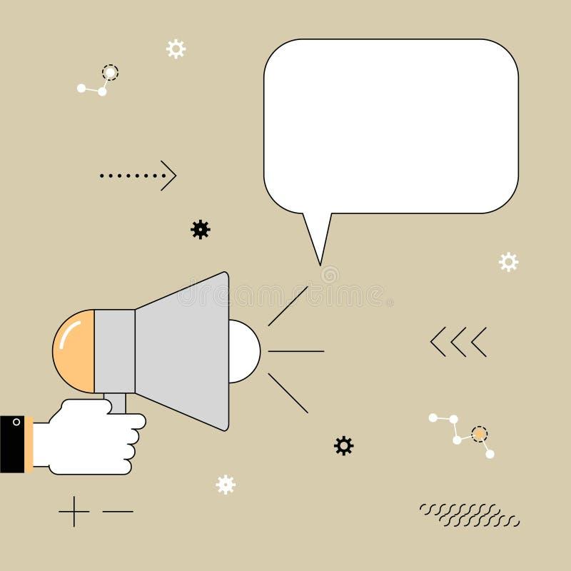 мегафон Информация выраженная диктором Иллюстрация o вектора иллюстрация штока