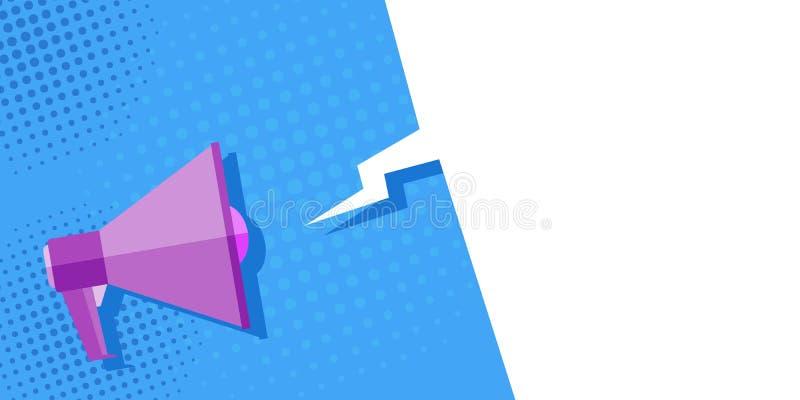 Мегафон на голубой предпосылке, искусство изображения попа, год сбора винограда предложение Мега-рекламы, знамя Облако для текста бесплатная иллюстрация