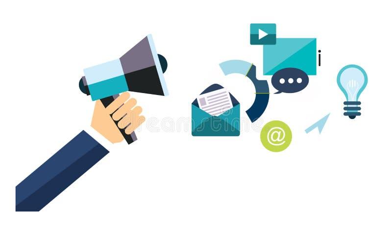 Мегафон с социальными элементами проектирования сети средств массовой информации, цифровая выходя на рынок иллюстрация удерживани иллюстрация штока